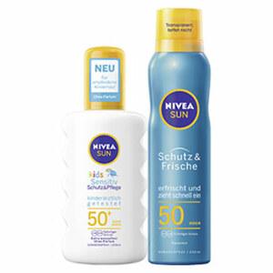 Nivea Sun Kids Schutz & Sensitive Sonnenspray LSF 50+ oder Nivea Sun Schutz & Frische Spray LSF 50 jede 200-ml-Flasche/Dose