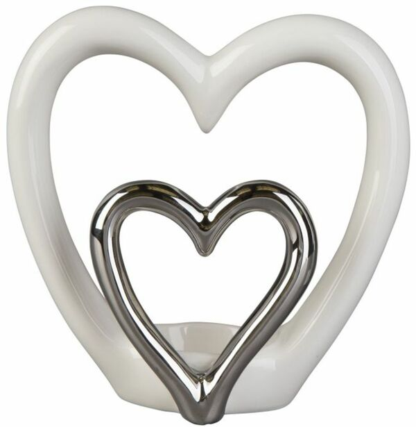 Teelichthalter - Herzen - aus Keramik - 15 x 6,5 x 14,5 cm