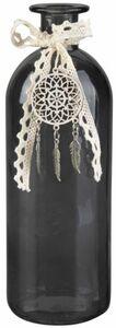 Vase - aus Glas - 20,5 x 7 cm - anthrazit