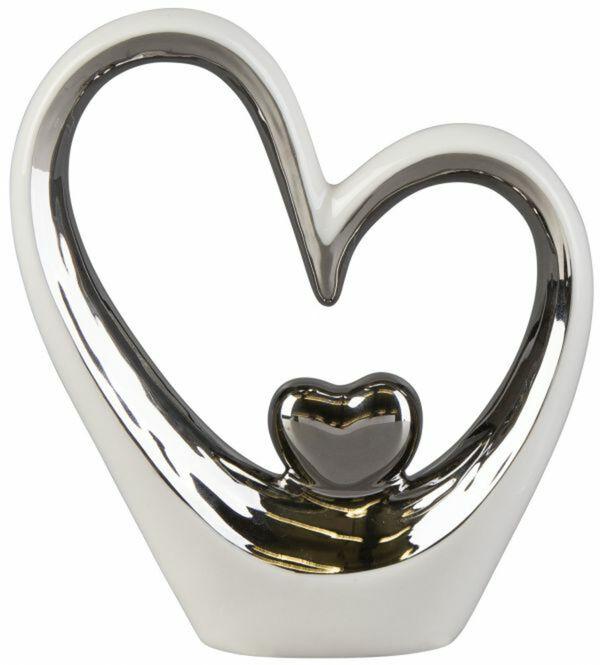 Standdeko - Herzen - aus Keramik - 13 x 4 x 14,5 cm