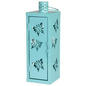 Gartenlaterne Schmetterling 34cm aqua blau Windlicht