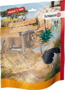 WWF Schleich Sammeltüten - Set 1, 1x Löwe, 1 x Strauß