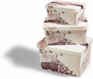 Dekor Aufbewahrungsboxen, 3er Set - beige/braun