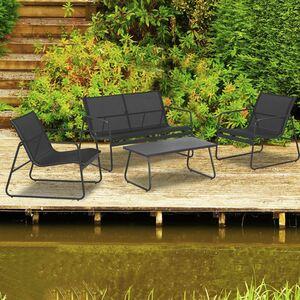 Garten-Sitzgruppe mit Stahlrahmen 4-teilig Anthrazit