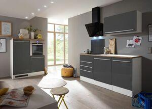 Respekta Premium Küchenzeile mit Mineralite-Einbauspülbecken 290 cm, grau