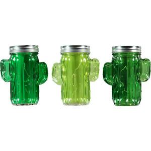 LED Deko Glas Kaktus mit Lichterkette