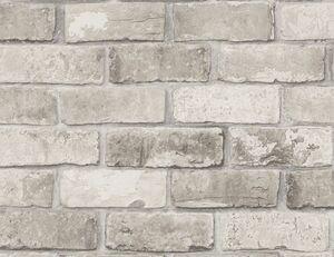 Papiertapete Steinmauer grau