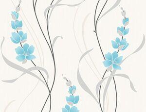 Vinyltapete Blume Aqua