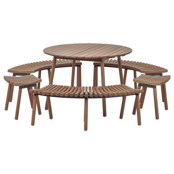 verallt tisch mit 3 b nken und 2 hockern f r drau en. Black Bedroom Furniture Sets. Home Design Ideas