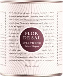 Flor de Sal d'Es Trenc Gewürzsalz, Flor de Sal, Meersalz olivas negras mit Kalamata Oliven in der Dose