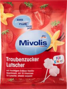 Mivolis Traubenzucker Lutscher Erdbeer-Vanille, 10 St