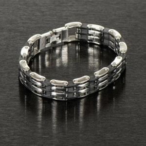 Edelstahl-Armband        Chirurgenstahl/Kautschuk, Länge: 21cm