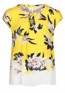 Betty & Co Kurzarm-Bluse, 36, Yellow/White - Gelb