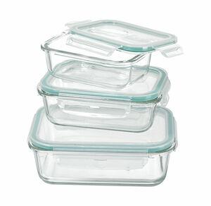Glas-Frischhaltedose mit praktischem Klickverschluss, 3er Set