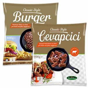 Fleisch-Krone Hamburger- Patties oder Cevapcici vom Rind, gefroren, jeder 1000-g-Beutel