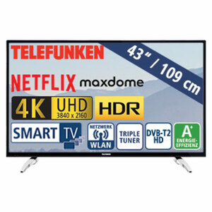 "43""-Ultra-HD-LED-TV D43U297N4CWH • HbbTV • 3 HDMI-/2 USB-Anschlüsse, CI+ • Stand-by: 0,5 Watt, Betrieb: 54 Watt • Maße: H 65,3 x B 97,4 x T 9,5 cm • Energie-Effizienz A+ (Spektrum A++ bis"