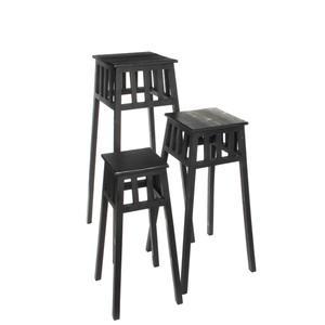 Mica Decorations Dakin Blumenhocker schwarz Satz von 3 - l29xb29xh90cm; 1003203