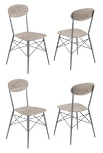REALITY Vierfuß-Stuhl Lara im 4er-Pack, Nachbildung Sonoma-Eiche