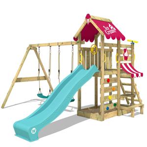 Spielturm WICKEY VanillaFlyer Kinder Klettergerüst Doppelschaukel Garten Sandkasten Kletterturm Rutsche