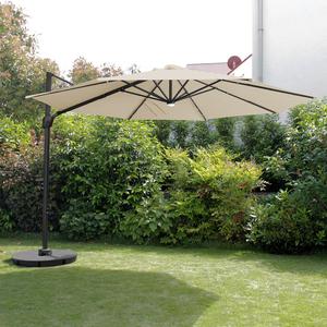 Ampelschirm Ø350xH270cm inkl. Solarbeleuchtung und Ständer - Grau/Beige