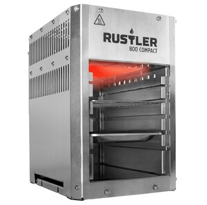 Rustler 800 Compact Hochleistungsgrill | Oberhitze Gasgrill aus Edelstahl für Temperaturen bis zu 800° C mit Piezozünder | Inkl. Grillrost & Auffangschale | Kompaktes Design