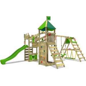 Spielturm FATMOOSE RiverRun Royal XXL mit SurfSwing Garten Kinder Kletterturm Stelzenhaus Outdoor Garten Klettergerüst