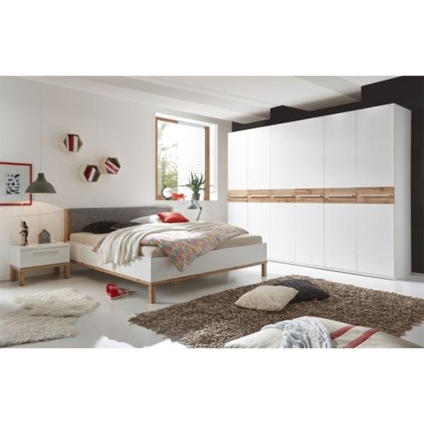 Schlafzimmer-Set Barcelona Weiß Dekor/Wildeiche Nachbildung
