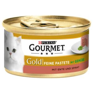 Gourmet Katzenfutter Gold Feine Pastete mit Ente & Spinat 85g