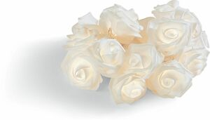 Dekor Lichterkette - weiße Rosen