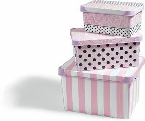 Dekor Aufbewahrungsboxen, 3er Set - weiß/schwarz