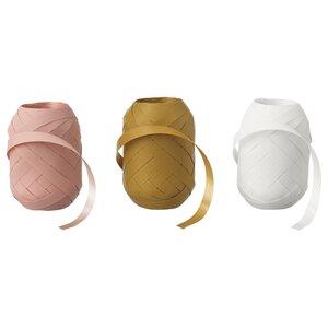 LANKMOJ                                Geschenkband, weiß rosa, gelb, 20 m