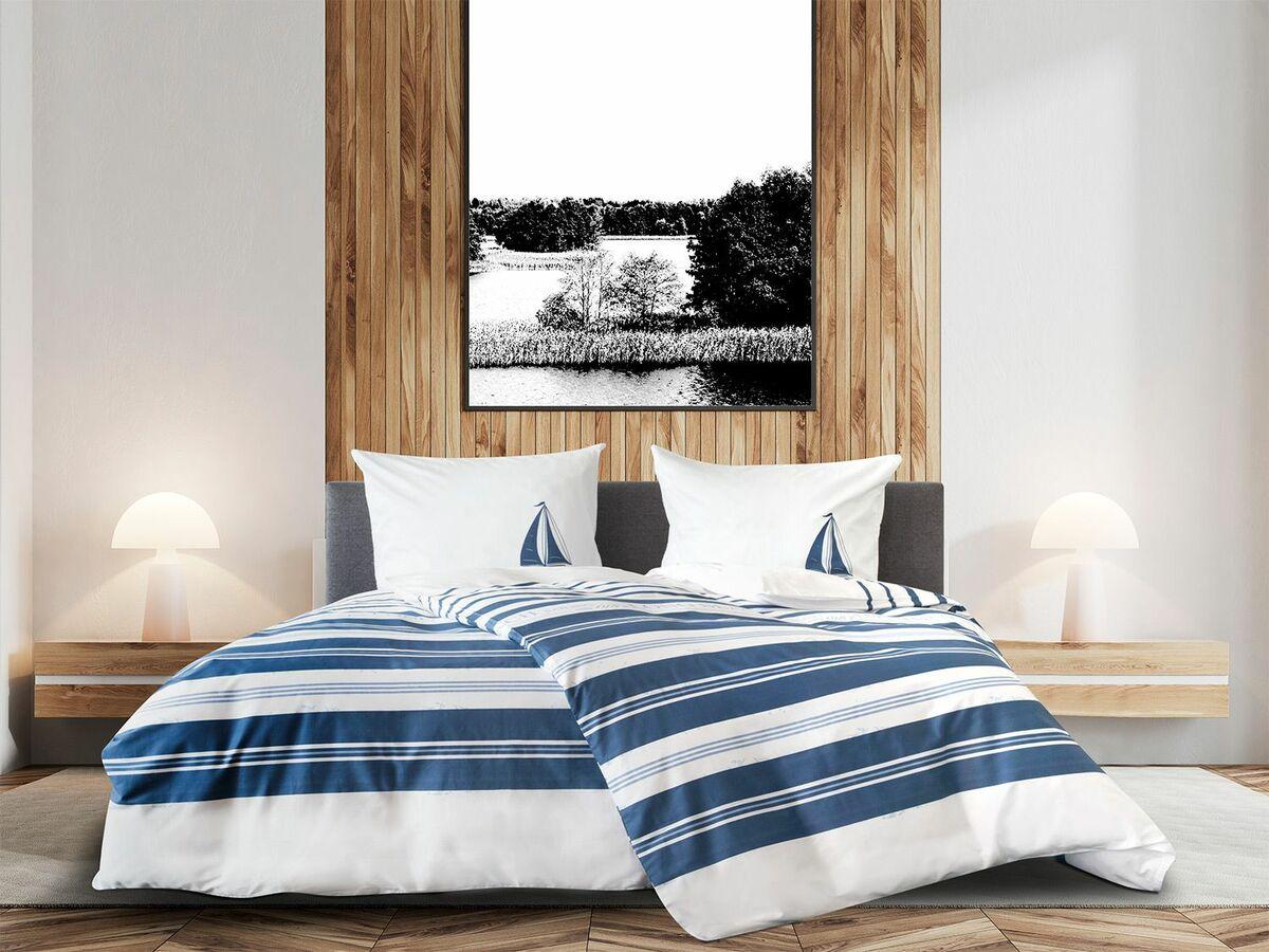 """Bild 1 von Primera Mako-Satin Bettwäsche """"Sea Breeze"""" Beach dunkelblau"""