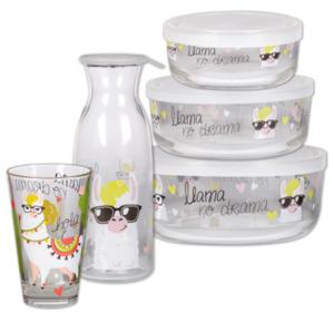 Glas, Karaffe und Glasschüssel-Set mit Motiv