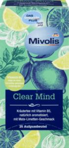 Mivolis Kräuter Tee, Clear Mind mit Vitamin B5 und Mate-Limetten-Geschmack