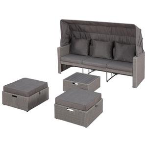 Lounge-Set Argentina (Sofa, 2 Hocker, 1 Tisch, inklusive Sonnendach)
