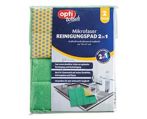 optiWisch 2 Mikrofaser Reinigungspads 2in1