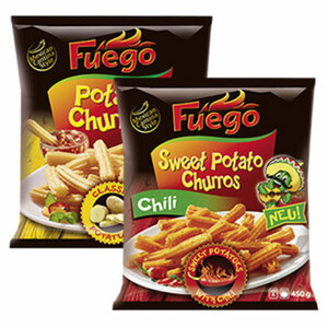 Fuego Potato Churros Classic oder Sweet Potato Churros Chili gefroren, jeder 450-g-Beutel