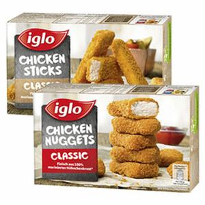 Iglo Chicken Nuggets oder Chicken Sticks gefroren, jede 250-g-Packung und weitere Sorten