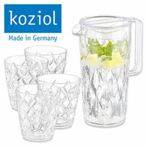 """Servier-Set """"Crystal"""" - 1 Kanne, ca. 1,6 Liter Inhalt - 4 Becher"""