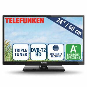 "24""-LED-HD-TV L24H502N4 • Auflösung 1.366 x 768 Pixel • 2 HDMI-Anschlüsse, USB-/Scart-Anschluss, CI+ • Stand-by: 0,5 Watt, Betrieb: 19 Watt • Maße: H 33,7 x B 55,4 x T 6,3 cm • Energie"