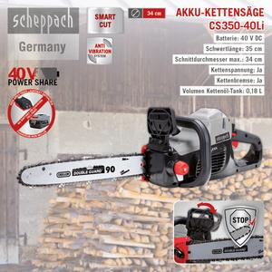 Scheppach Akku-Kettensäge 51cm CS350-40Li
