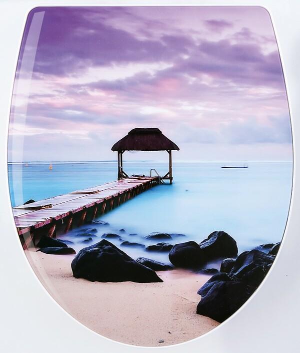 badkomfort Hochglanz-WC-Sitz mit Acryl-Beschichtung, Strand Steg