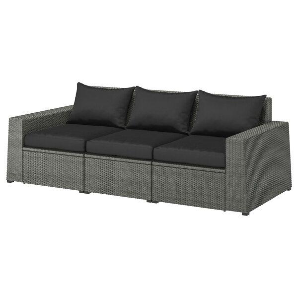 SOLLERÖN                                3er-Sitzelement/außen, dunkelgrau, Hållö schwarz, 223x82x82 cm
