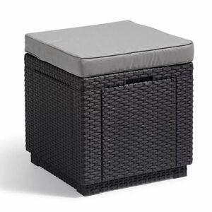 Allibert Cube Sitzhocker mit Stauraum, Graphitgrau, 1 Hocker