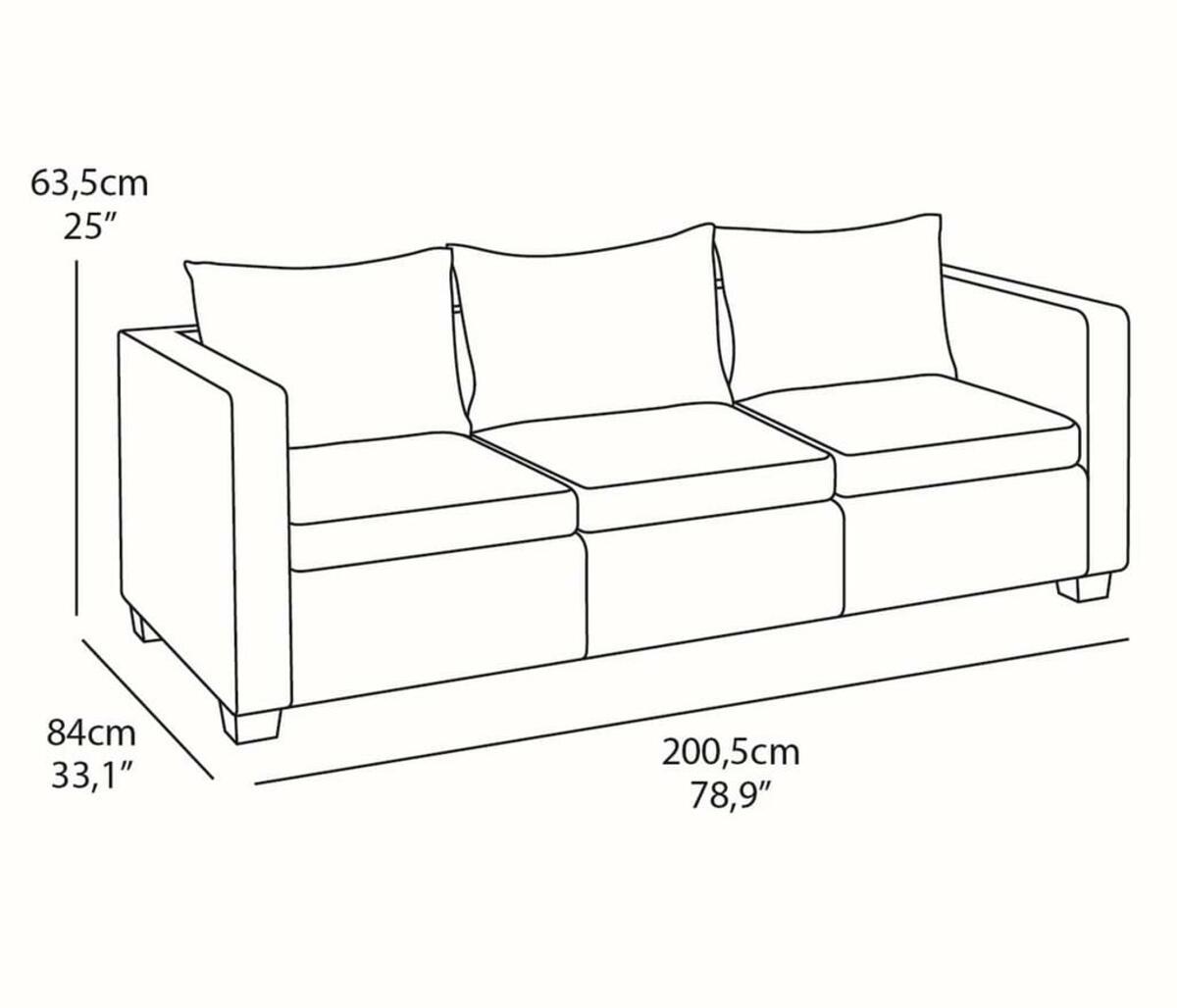 Bild 2 von Salta Lounge 3-Sitzer-Sofa Braun