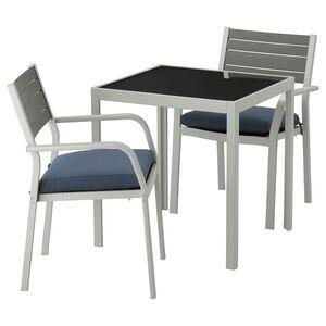 SJÄLLAND                                Tisch und 2 Armlehnstühle/außen, Glas, Frösön/Duvholmen blau, 71x71x73 cm