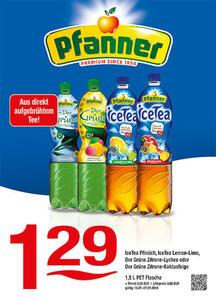 Pfanner IceTea Pfirsich, IceTea Lemon-Lime, Der Grüne Zitrone-Lychee oder Der Grüne Zitrone-Kaktusfeige