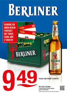 Berliner Pilsner oder Radler naturtrübGewinnen Sie 1 Union Berlin Fanpaket mit Trikot, Schal & 2 Tickets!