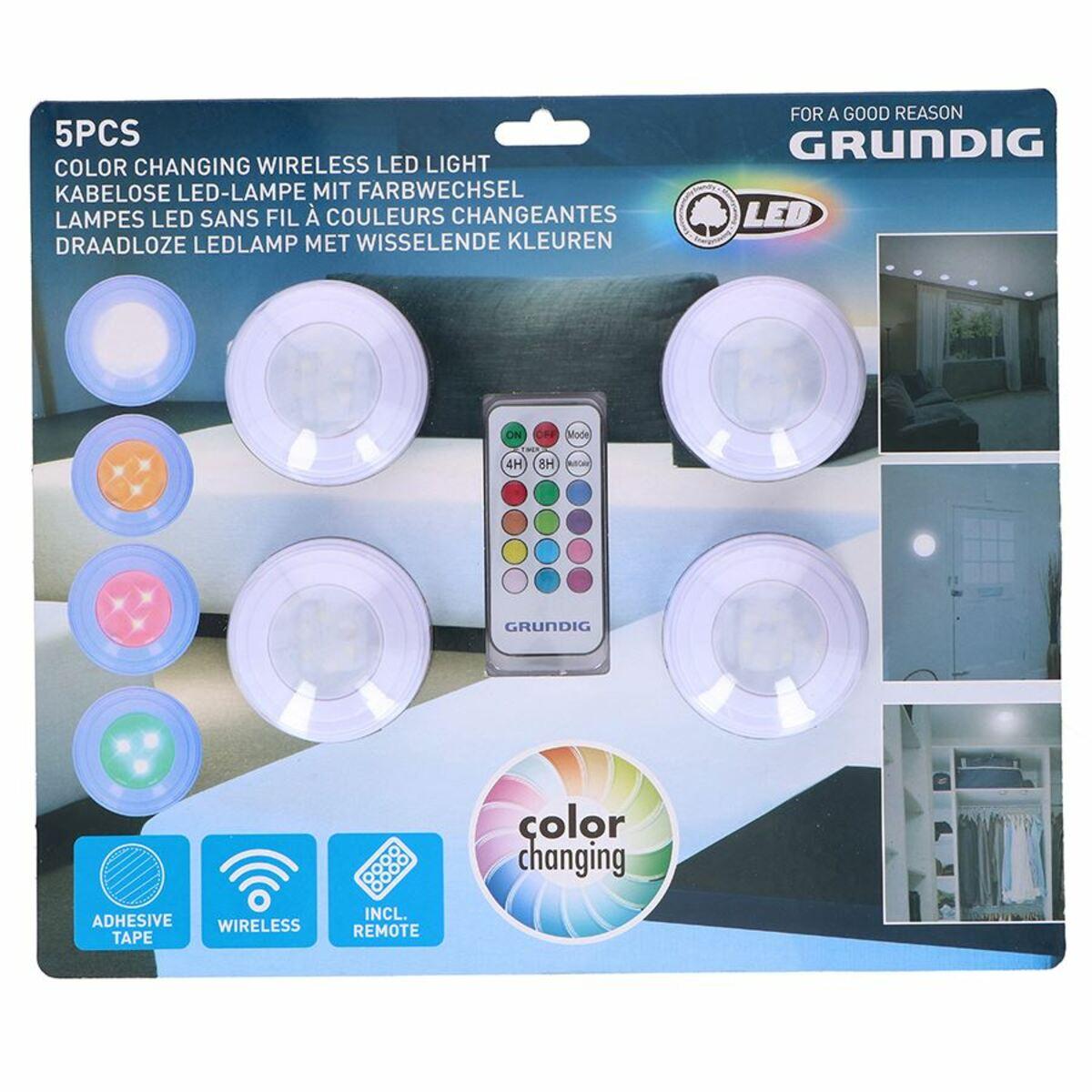 Bild 2 von Grundig LED-Lampen selbstklebend mit Farbwechsler 4er-Set