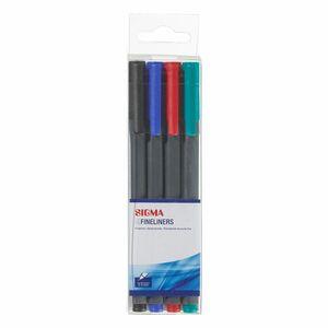 Sigma Fineliner Blau, Grün, Rot, Schwarz - 4 Stück